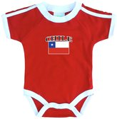 PAM baby Chile soccer bodysuit with white piping