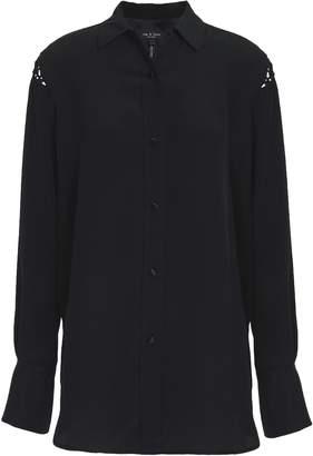 Rag & Bone Hana Macrame-trimmed Silk Crepe De Chine Shirt