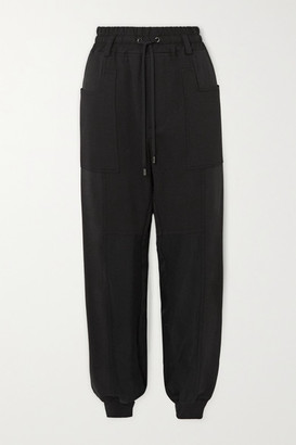 Tom Ford Paneled Jersey, Satin And Pique Track Pants - Black
