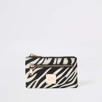 River Island Black zebra print mini zip pouch