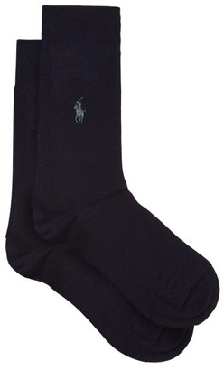 Polo Ralph Lauren Pack Of Two Logo Embroidered Socks - Mens - Navy