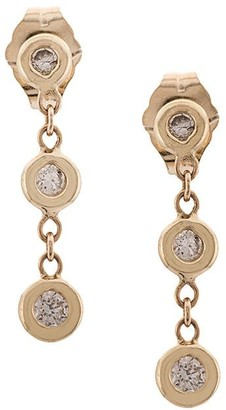 Jacquie Aiche 14kt yellow gold Three Diamond drop earrings