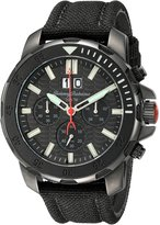 Tommy Bahama TB1300 Men's Big Island Diver Chronograph Black Cordura Fabric Strap Dive Watch
