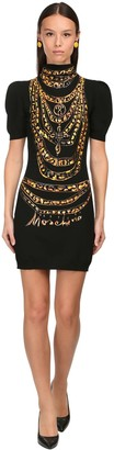 Moschino Printed Stretch Viscose Mini Dress