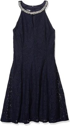 London Times Women's Petite Sleeveless Halter Lace Fit & Flare Dress