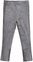 Imoga Stretch Suede and Jersey Leggings, Gray, Size 2-6