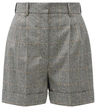 Alexander McQueen Pleated Prince Of Wales-check Wool-blend Shorts - Grey Multi