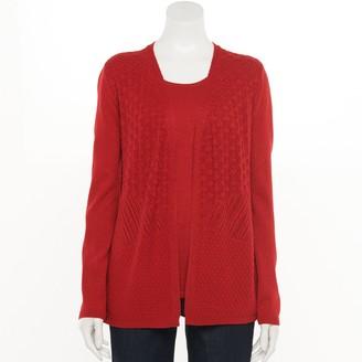 Croft & Barrow Women's Textured Mock-Layer Cardigan Sweater