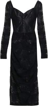 Dolce & Gabbana Ruched Satin-paneled Lace Midi Dress