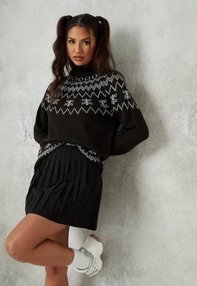 Missguided Black Fairaisle Turtle Neck Christmas Sweater