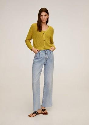 MANGO Linen cotton knit cardigan lime - S - Women