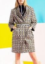 Tara Jarmon Printed Coat With Belt Marine