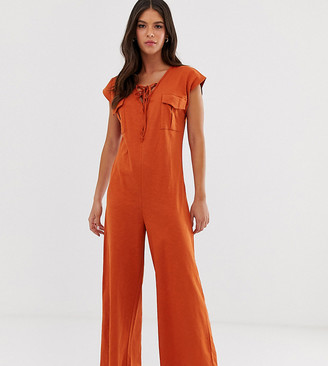 Asos Tall DESIGN Tall casual jumpsuit with lace up detail-Orange