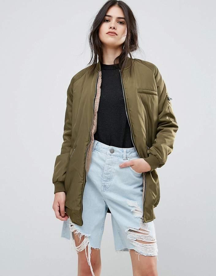 Missguided Longline Khaki Bomber Jacket