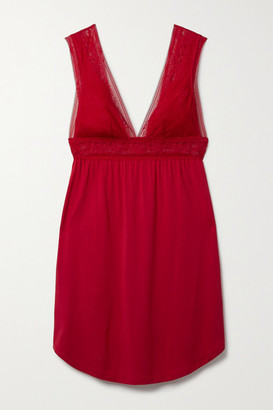 Eberjey Raquel Stretch-lace And Stretch-modal Jersey Chemise - Red