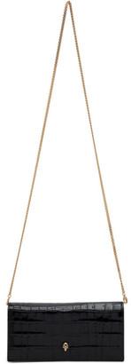 Alexander McQueen Black Croc Skull Chain Wallet Bag