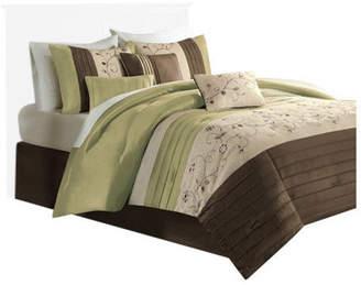 Madison Home USA Polyoni Solid 7-Piece Comforter Set, Green, California King