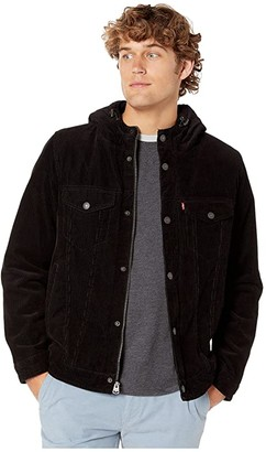 Levi's Corduroy Two-Pocket Hoodie with Sherpa (Black) Men's Clothing