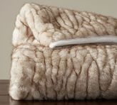 Pottery Barn Gathered Faux Fur Throw - Ivory Tipped
