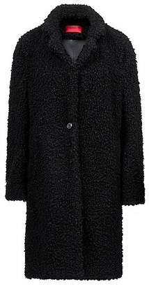 HUGO BOSS Egg-shaped coat in teddy fabric