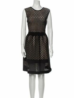 Fendi Scoop Neck Knee-Length Dress Black
