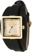 Vivienne Westwood Cube Women's Quartz Watch with Silver Dial Analogue Display and Black Leather Strap VV008GDBK