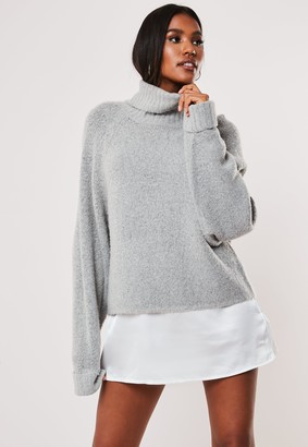 Missguided Grey Rib Roll Neck Batwing Knitted Jumper