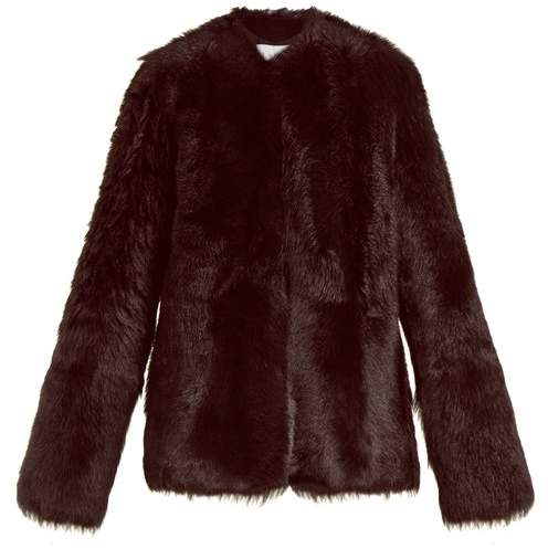 Raey 1970s Shearling Coat - Womens - Burgundy