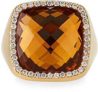 Roberto Coin 18k Square Citrine & Diamond Trim Ring, Size 9