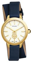Tory Burch 38mm Collins Double-Wrap Leather Strap Watch, Tory Navy