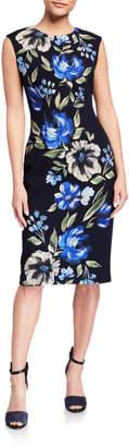 London Times Cap-Sleeve Floral Scuba Midi Dress