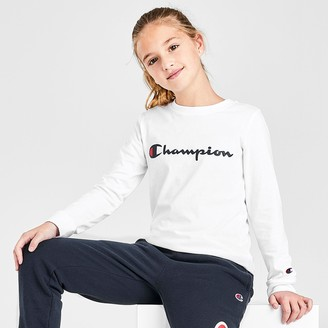 Champion Kids' Script Logo Long-Sleeve T-Shirt