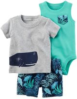 Carter's Baby Boy Whale Tee, Bodysuit & Leaf-Print Shorts Set