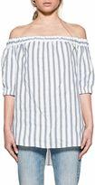 Michael Kors White/blue Striped Linen Top
