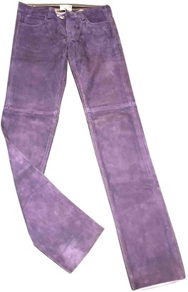 Non Signé / Unsigned Non Signe / Unsigned Purple Suede Trousers for Women