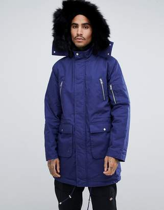 Asos Design Heavyweight Parka With Faux Fur Lining In Blue