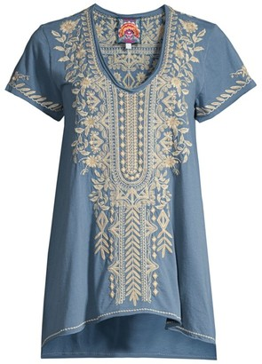 Johnny Was Kemi Embroidered Draped Top