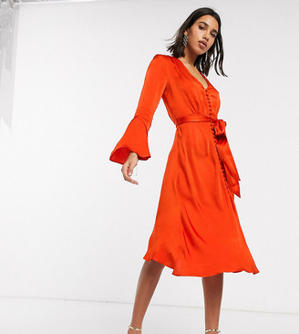 Ghost exclusive annabelle satin button front midi dress with flare sleeves-Orange