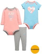 Nike Baby Girl 3 Pce Bodysuit And Legging Set