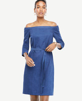 Ann Taylor Off The Shoulder Chambray Dress