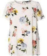 Dorothy Perkins Womens DP Curve Plus Size Floral Ruffle Soft T-Shirt- White