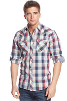 American Rag Men's Western Plaid Long Sleeve Shirt