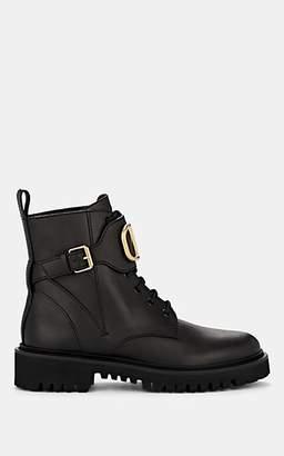Valentino Garavani Women's Logo-Embellished Leather Combat Boots - Black