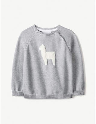 The Little White Company Llama-intarsia cotton-blend jumper 0-24 months