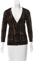 Tory Burch Wool Abstract Patterned Cardigan