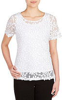 Peter Nygard Petites Short Sleeve Lace Blouse
