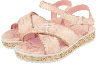 Monsoon Girls Snake Shimmer Glitter Flatform Sandal - Pale Pink