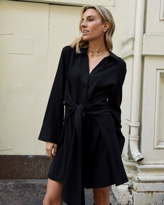 The Drop Women's Black Exaggerated Tie-Front Button Down Dress by @lisadnyc M