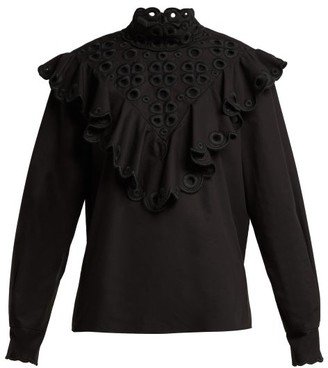 Fendi Ruffle Broderie-anglaise Cotton Blouse - Womens - Black
