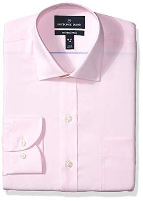 Buttoned Down Slim Fit Spread Collar Solid Non-Iron Dress Shirt, Light Pink/Pockets, 17.5 Inches Neck 32 Inches Sleeve
